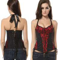 Lace Halter Backless Shaping Corset Top