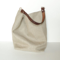 Linen Burlap Hobo Bag - Slouchy Box Tote - Beach Bag - Bucket Bag