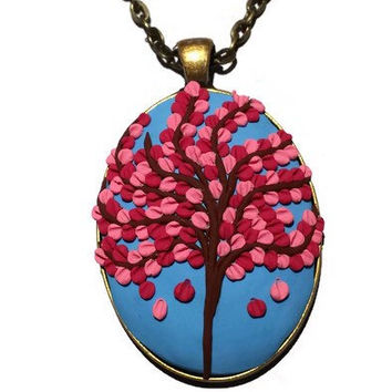 Cherry Blossom Necklace sculpted from Polymer Clay with Oval Pendant