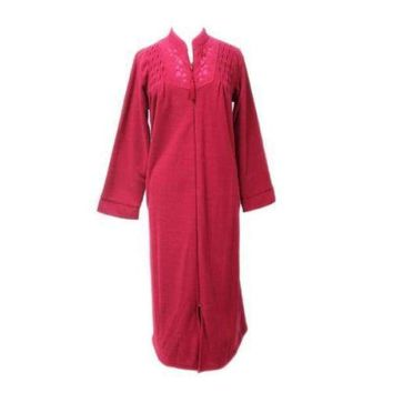 Miss Elaine Brushed Back Terry Zip Front Long Robe 866005 RED Medium