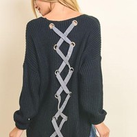 Black Criss-Cross Back Sweater