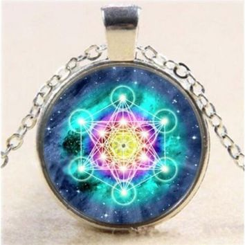 Tibet Silver Metatron's Cube Cabochon Glass Pendant Necklace