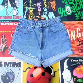 Vintage Denim Cut Offs - 90s LIGHT Stone Washed Jean Shorts - High Waisted, Frayed, Distressed JORDACHE Brand Shorts, Size 10 12 Large L