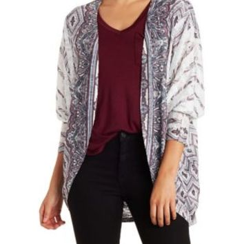 Sublimated Paisley Print Cocoon Cardigan