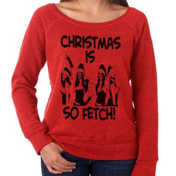 Fleece Lined Merry Christmas Ugly Shoulder Sweatshirt. Ugly Christmas Sweater. Womens Christmas Sweater. Ya Filthy Animal