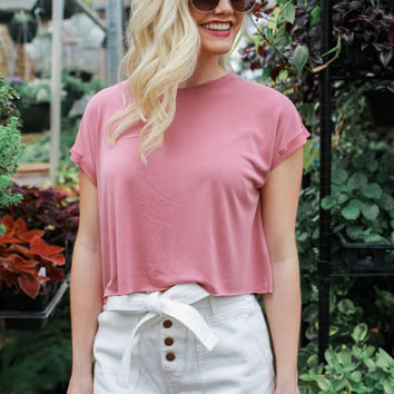 Exactly Right Crop Top - Dark Peach
