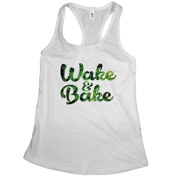 Wake and Bake Tank Top Stoner Tanks for Women Cannabis Clothes for Women