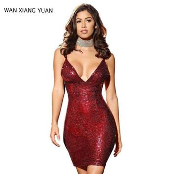 WANXIANGYUAN Women Mini Dress 2017 Summer Sexy Deep V Neck Bodycon Dress Sleeveless Sheath sequin Women Party Dresses 811