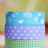Washi Tape - White clouds in blue sky 8 metres WT564