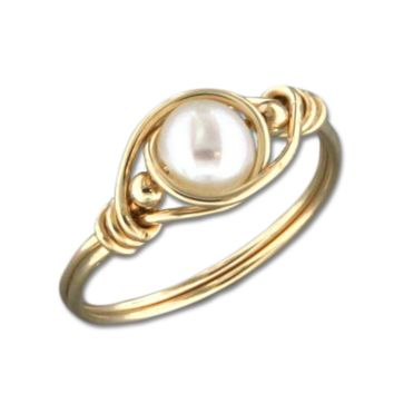 Wire Wrap Pearl Ring - Gold Filled