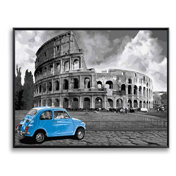Bullring Black White Wall Art Blue Car DIY Painting by Numbers on Canvas Colosseum Paintings Canvas drop shipping SZH-223