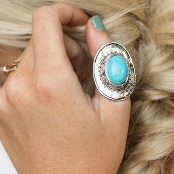 Disc Turquoise & Silver Ring