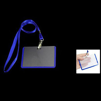 Affordable 2 Pcs School Office Blue Lanyard Horizontal B8 ID Name Badge Card Holders