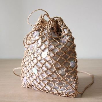 Raffia bag Crochet pouch Net bag Cross body bag  Drawstring pouch bag Mesh net bag String bag Raffia evening bag Summer evening bag