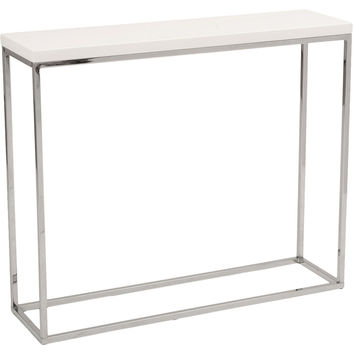 "Console Sandor 30""  Table, White Lacquer, Console Table"