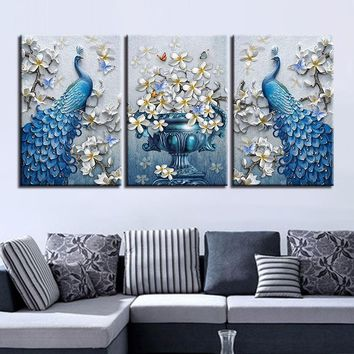 Canvas Painting Living Room Decor 3 Pieces Blue Peacock Pictures HD Prints Orchid Flower Butterflies Poster Wall Art Framework