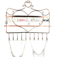 NSSTAR Heart Shape Wall Mount Jewelry Organizer Hanging Earring Holder Necklace Jewellry Display Stand Rack (Bronze)