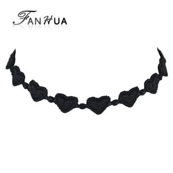 Choker Necklace Outfits Black Heart Shape Lace