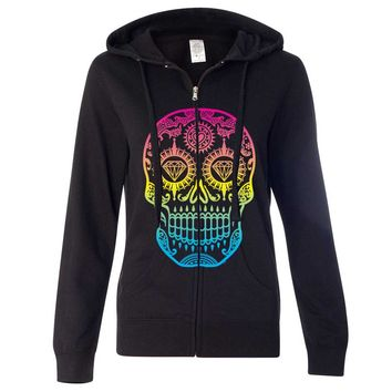 Neon Diamond Eyes Smiling Sugar Skull Ladies Zip-Up Hoodie