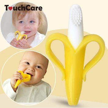 High Quality And Environmentally Safe Baby Teether Teething Ring Banana Silicone Toothbrush