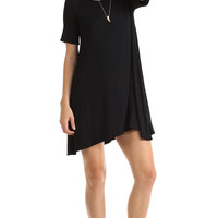 SHORT SLEEVE FULL SWING DRESS - BLACK
