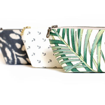 Tropical Print Mini Zip Clutch, Palm Leaf Print