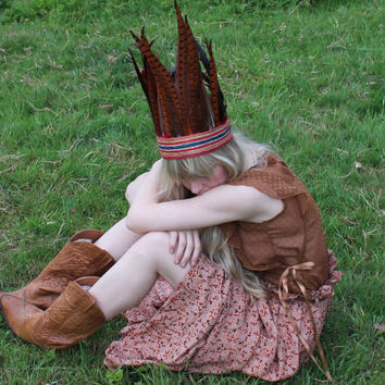 Feather and Leather headdress by rougepony on Etsy