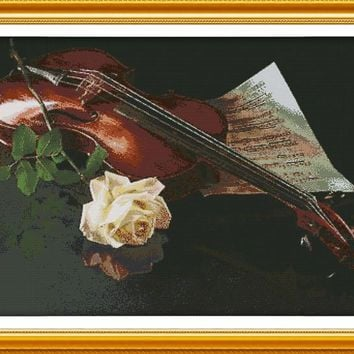 Violin and White Rose Cotton Canvas DMC Cross Stitch Kits Accurate Printed Embroidery DIY Handmade Needle work Wall Home Decor
