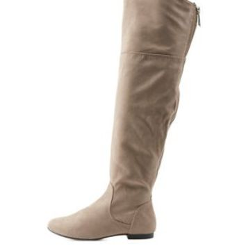 Taupe Bamboo Over-the-Knee Flat Riding Boots