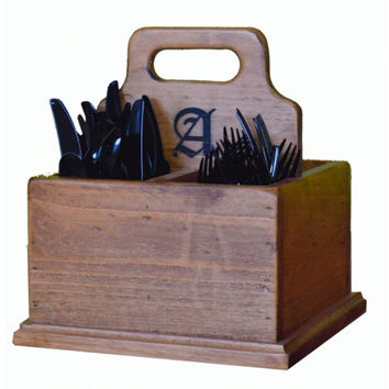 Personalized Reclaimed Wine Barrel Silverware Caddy