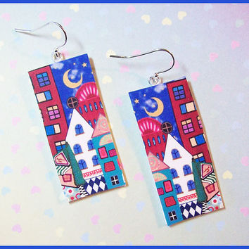 "Fun Houses Earrings 1"" x 2"" Polymer Clay Image Transfer Digital Art Handcrafted Dangle Earrings 07"