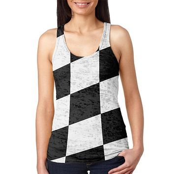 Finish Line Checkered Flag Wave Juniors Burnout Racerback Tank Top