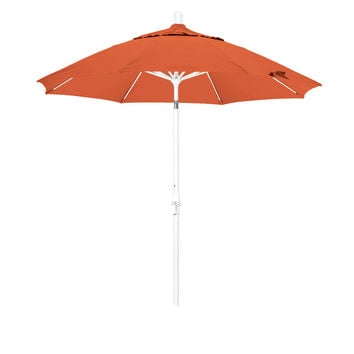 9 Foot Sunbrella 2A Fabric Fiberglass Rib Crank Lift Collar Tilt Aluminum Patio Umbrella with White Pole