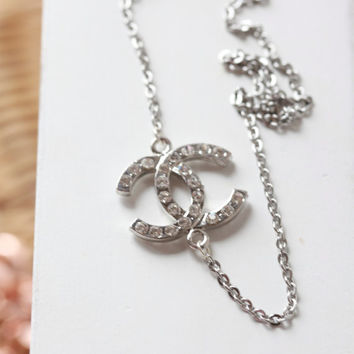 COCO CHANEL Necklace - Coco Chanel Inspired Double C long Necklace