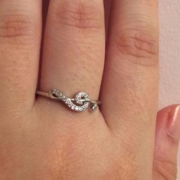 Silver Music Ring in Cubic Zirconia | Treble Clef