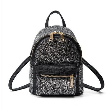 Sequins Design Women Mini Backpack High Quality Nylon Waterproof School Bags For Teenagers Girls Travel Backpack Mochila Escolar