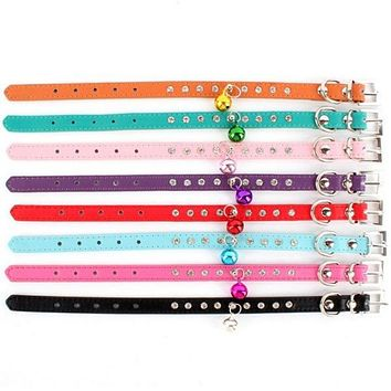 Cat Faux Leather Rhinestone Pet Necklace Neck Strap Puppy Bell Buckle Dog Collar