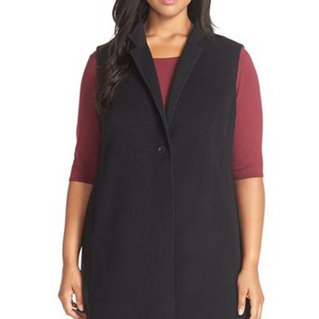 Plus Size Women's Eileen Fisher Notch Collar Long Wool Blend Vest,