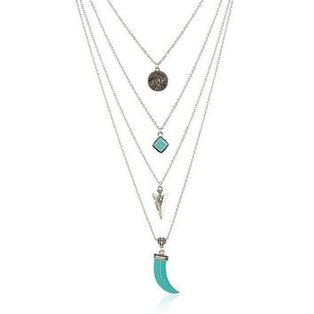 VONE7HQ OPAL FERRIE - Vintage Tibetan Multi Layer Turquoise Silver Pendant Necklace Accessorie Jewelry