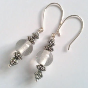 Clear Round Glass Bead Earrings with Textured Silver Accents