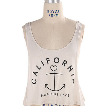 Cropped California Tan Medium Graphic Tank Top