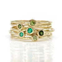 Melanie Casey- Peridot, Emerald, Tourmaline and 14K Gold Stacking Rings Set of 6