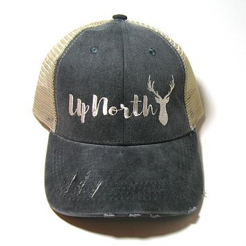 Black Distressed Snapback Trucker Hat - Up North - Stag Head Black Hat