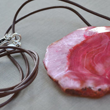 Pink Druzy Agate Necklace, Brown Leather Cord, Natural Pink Stone Necklace, Crystallized Geode Stone Pendant