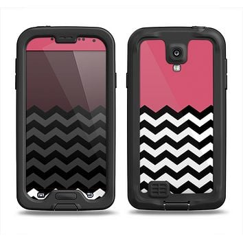 The Solid Pink with Black & White Chevron Pattern Samsung Galaxy S4 LifeProof Fre Case Skin Set