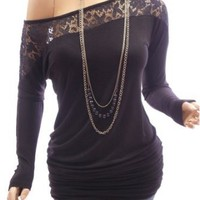 Amazon.com: Patty Women Sexy Black On / One Shoulder Floral Lace Long Sleeve Tunic Blouse Top: Clothing