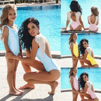2019 Family Matching Swimwear Mother And Me Cute Angel Wings One Piece Swimsuit Push Up Padded Bathing Suit Summer Beachwear