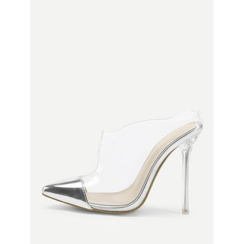 Transparent Cap Toe Stiletto Heels Pumps