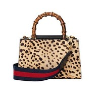 Gucci Women's Nymphaea Leopard Print Pony Hair Black Leather Mini Bag 470271