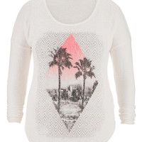 Plus Size - Ethnic And Palm Tree Graphic Print Tee - Beige